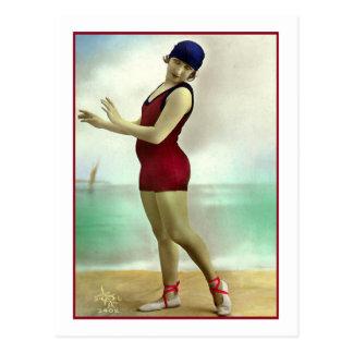 Bathing Beauty in deep cranberry bathing suit Postcard