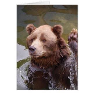 Bathing Brown Bear  Note Card