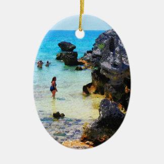 Bathing in the Ocean St. George Bermuda Ceramic Ornament