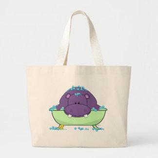 Bathing Purple Hippo Large Tote Bag