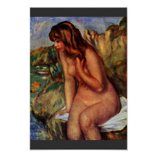 Bathing Seated On A Rock By Pierre-Auguste Renoir Poster