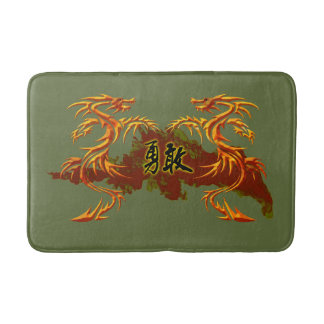 bathmat, 2 dragons, fire, Chinese symbol brave Bath Mat