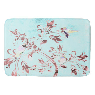 Bathmat Abstract aqua bird pink