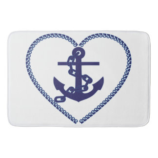 Bathmat bathroom Heart anchor blue white