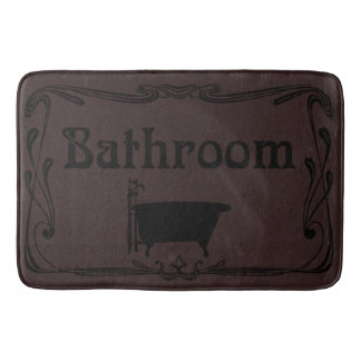 Bathmat bathroom vintage tub brown black