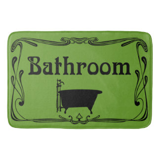 Bathmat bathroom vintage tub olive green black