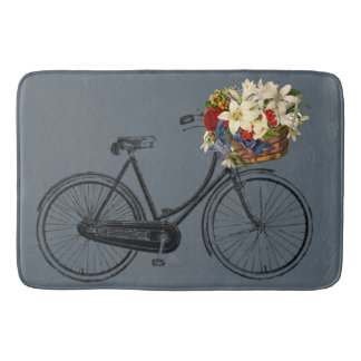 Bathmat bicycle bike flower  grey slate blue