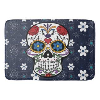 Bathmat Retro blue white flower sugar skull