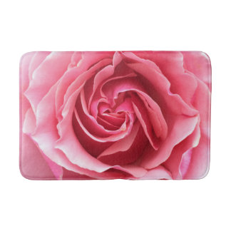 Bathmat with close up photo of pink rose