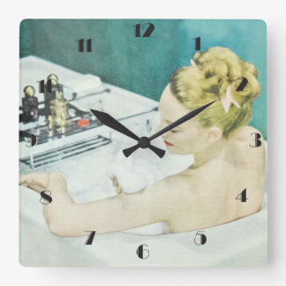 Bathroom with vintage woman bathing square wall clock
