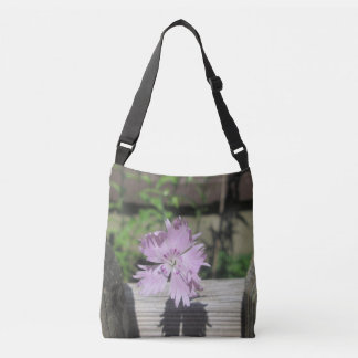 Baths Pink Dianthus on Fence Crossbody Bag