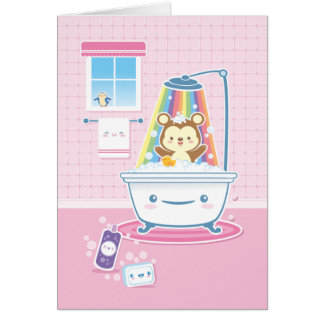 Bathtime Bear Greeting Card