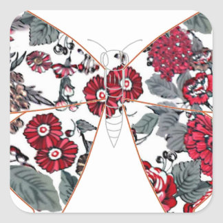 batik and butterfly no.1 square sticker