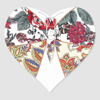 batik and butterfly no.2 heart stickers
