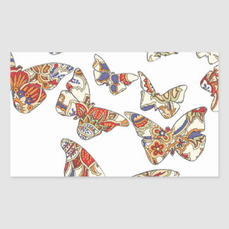 batik and butterfly no 3 collection rectangular sticker
