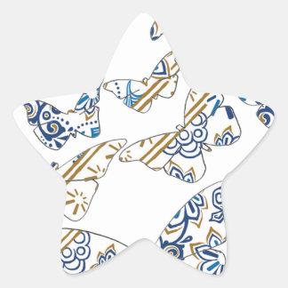 batik and butterfly no 4 star sticker