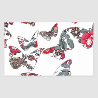 batik and butterfly no.5 rectangle sticker