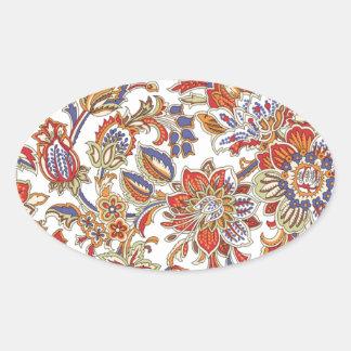 batik art no 1 oval stickers