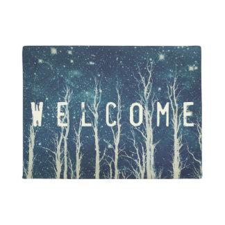 Batik Art Trees Nature Blue Door Mat
