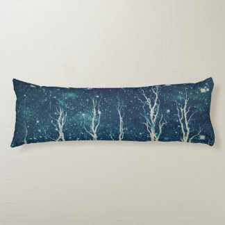 Batik Art Trees Teal Body Pillow