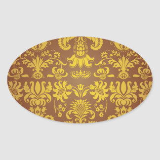 Batik Bali style design Oval Sticker