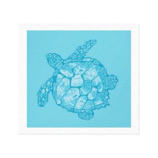 Batik Blue Sea Turtle Painting on Canvas