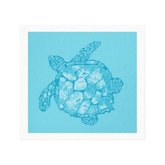 Batik Blue Sea Turtle Painting on Canvas