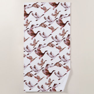 Batik Dusty Rose Geese in Flight Waterfowl Animals Beach Towel