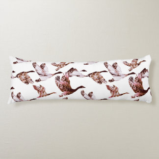 Batik Dusty Rose Geese in Flight Waterfowl Animals Body Pillow
