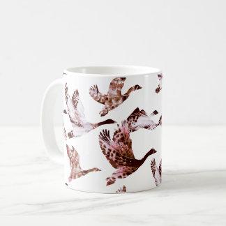 Batik Dusty Rose Geese in Flight Waterfowl Animals Coffee Mug