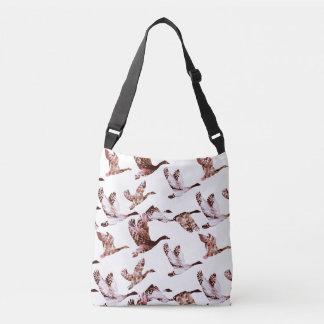Batik Dusty Rose Geese in Flight Waterfowl Animals Crossbody Bag
