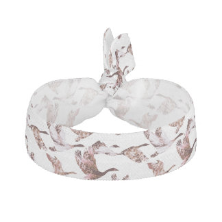 Batik Dusty Rose Geese in Flight Waterfowl Animals Hair Tie