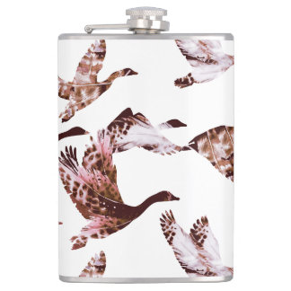 Batik Dusty Rose Geese in Flight Waterfowl Animals Hip Flask