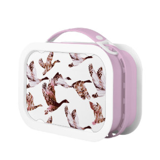Batik Dusty Rose Geese in Flight Waterfowl Animals Lunch Box