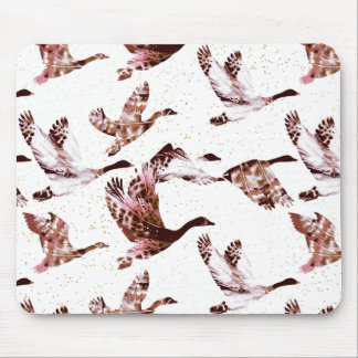 Batik Dusty Rose Geese in Flight Waterfowl Animals Mouse Pad