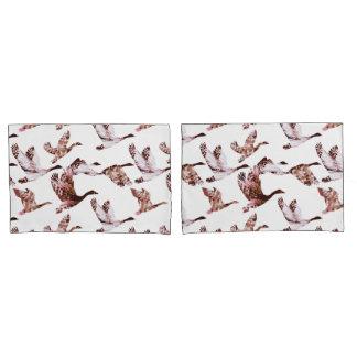 Batik Dusty Rose Geese in Flight Waterfowl Animals Pillowcase