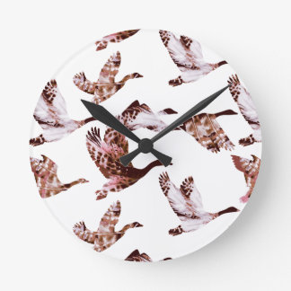 Batik Dusty Rose Geese in Flight Waterfowl Animals Round Clock
