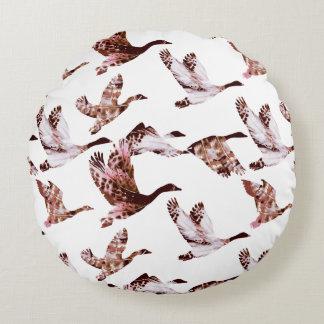 Batik Dusty Rose Geese in Flight Waterfowl Animals Round Pillow