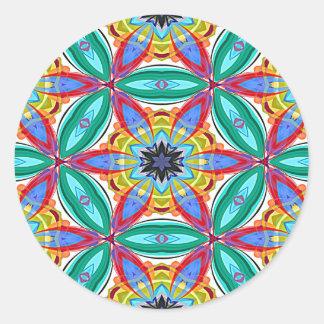 Batik flower mandala shape classic round sticker