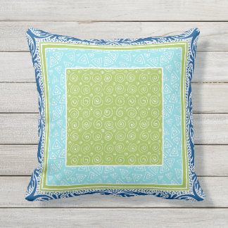 Batik Hand Drawn Geometric Triangle Swirl Leaf Art Outdoor Pillow