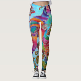 Batik hornbill birds colourful handpainted leggings