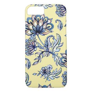 Batik Indigo  Floral Pattern on yellow background iPhone 7 Case