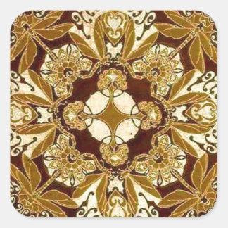 Batik Mandala in Brown and Tan Square Stickers