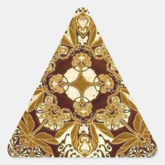Batik Mandala in Brown and Tan Triangle Sticker
