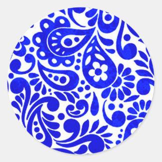 batik mega 06 classic round sticker