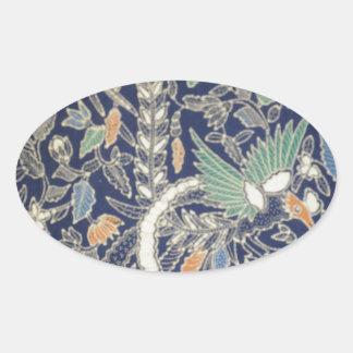 batik no 22 collection oval sticker