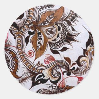batik no.4 colection round sticker