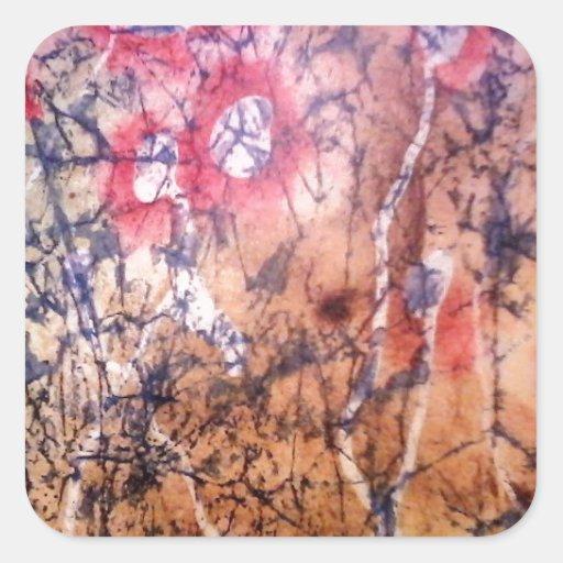 Batik - Red Lichen Square Sticker