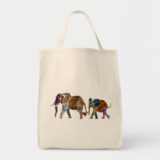 Batik Style Elephant family  tote bag
