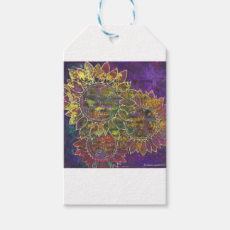 batik sunflowers pack of gift tags
